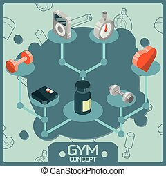 Gym color isometric concept icons