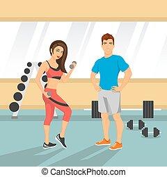 gym., coppia, vettore, illustrazione, adattare