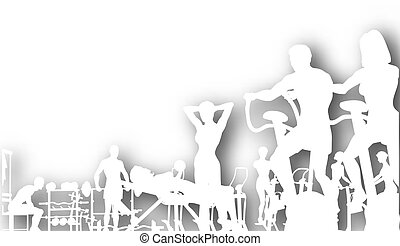 Gym cutout - Editable vector cutout of people exercising in...