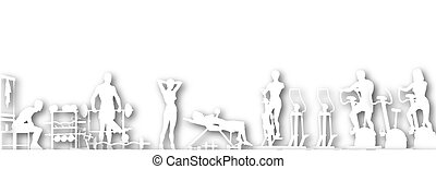 Gym cutout - Illustrated foreground of a gym scene in...