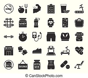 gym, diet and fitness solid icon, isolated on white background