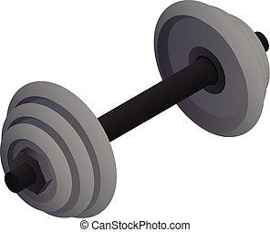Gym dumbbell icon, isometric style