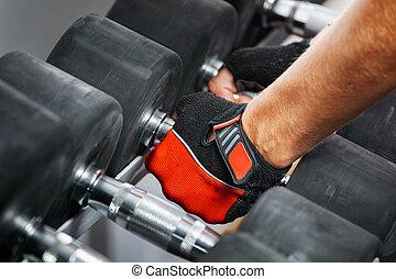 gym., dumbbells, métal, étagère