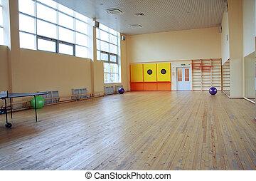 Gym - Empty gym with big windows in fitness centre