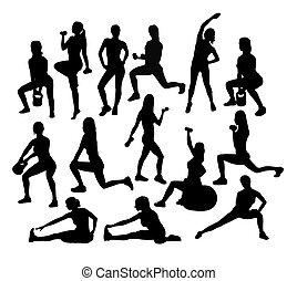 gym, en, fitness, activiteit, silhouettes