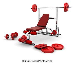 Gym equipment - 3D render of gym equipment