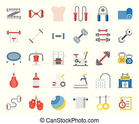 gym equipment and fitness flat icon, such as elliptical...