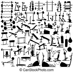Collection of editable vector silhouettes of gym equipment