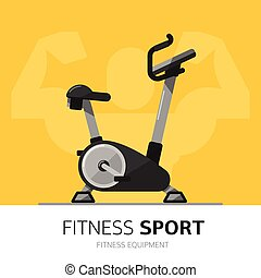Gym equipment concept. Exercise Bike vector icon.