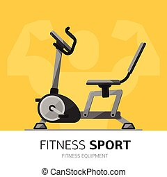 Gym equipment concept. Exercise Bike vector icon.