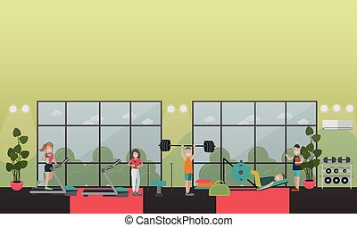 Gym equipment concept vector flat illustration