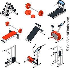 Gym Equipment Isometric Set