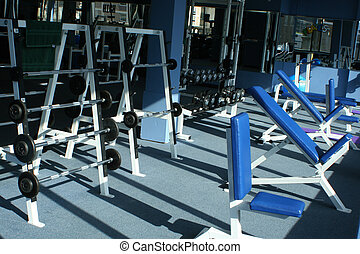 gym equipment - weights and equipment at a gym