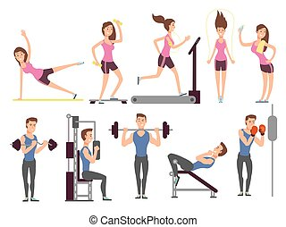 Gym exercises, body pump workout vector set with cartoon sport man and woman characters. Fitness people