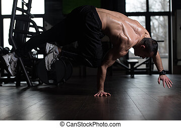 gym, extreem, handstand, man