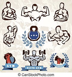 gym, fitness emblems collection