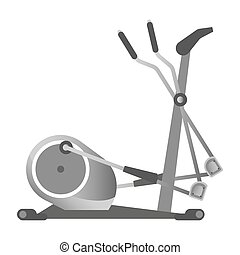 Gym fitness equipment elliptical trainer exercise machine sport club vector icon