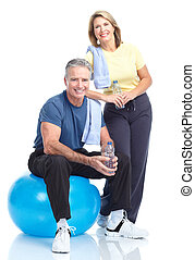 Gym, Fitness, healthy lifestyle - Senior healthy fitness...