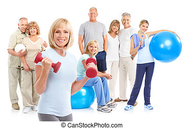 Gym, Fitness, healthy lifestyle. Smiling people. Over white...