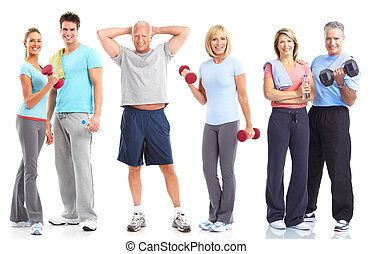 Gym, Fitness, healthy lifestyle. Smiling people. Over white ...