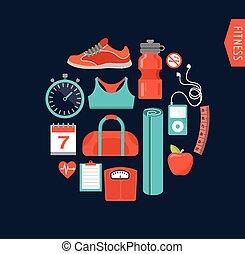 gym, fitness, lijn, iconen, plat