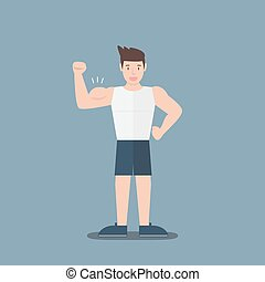 gym fitness muscular cartoon man show biceps flat design