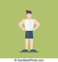 gym fitness muscular cartoon man standing flat design