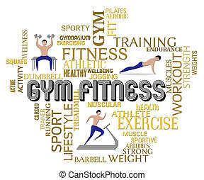 Gym Fitness Shows Working Out And Exercising