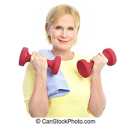 Gym & Fitness. Smiling elderly woman working out. Isolated ...