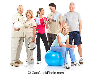 Gym & Fitness. Smiling people . Isolated over white...