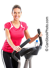 Gym & Fitness. Smiling young woman working out. Isolated...