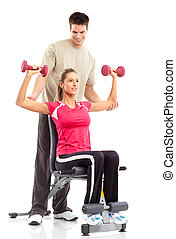 Gym & Fitness. Smiling young woman working out. Isolated ...