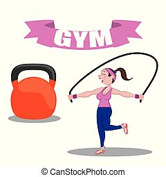 gym fitness woman jump rope barbell