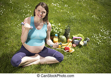 Gym fitness,Pregnant woman, healthy lifestyle concept