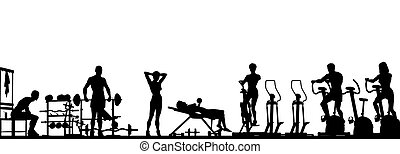 Editable vector foreground of a gym scene in silhouette with all elements as separate objects