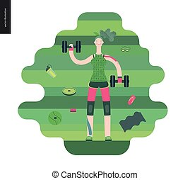 Gym - girl exercising
