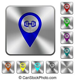 Gym GPS map location rounded square steel buttons