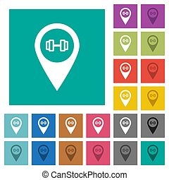 Gym GPS map location square flat multi colored icons