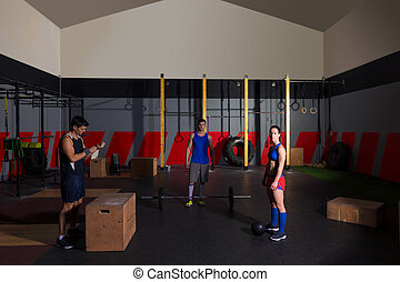 gym group workout barbells slam balls and jump - gym people...