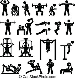 A set of pictogram showing a set of artwork related body building workout.