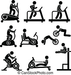 Gym Gymnasium Fitness Exercise - A set of pictogram showing ...
