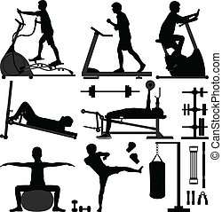 Illustrations of man working out in a gym room.