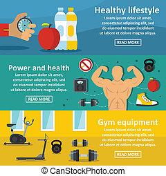 Gym healthy banner horizontal set, flat style