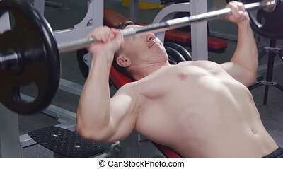 gym., homme, levage, barre disques