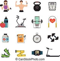Gym Icon Flat Set