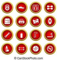 Gym icon red circle set