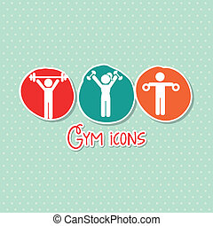 gym icons - gym icon over green background. vector ...