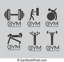 Illustration of gym icons, lines background, vector illustration