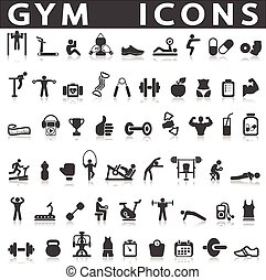 gym icons on a white background with a shadow