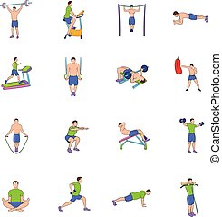 Gym icons set cartoon